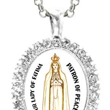 Our Lady of Fatima Patron of Peace Cz Crystal Silver Necklace Pendant