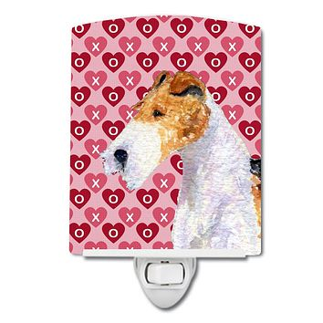 Fox Terrier Hearts Love and Valentine's Day Portrait Ceramic Night Light SS4478CNL