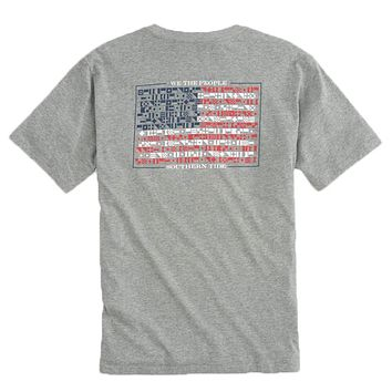 We The People Flag T-Shirt in Heather Grey by Southern Tide