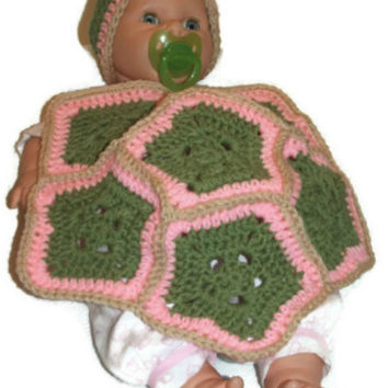 Newborn Baby Turtle Photo Prop, Crochet Baby Girl Green Brown and Pink Turtle Shell and Matching Beanie
