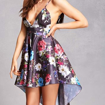 Satin Floral High-Low Dress