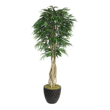 """84"""" Artificial Willow Ficus with Multiple Trunks in 13.6"""" Black Decorative Honeycomb Planter"""