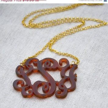 End Of Summer SALE HandCrafted Tortoise Shell Acrylic 3 Initials Monogram Necklace - 1.5 inch Vine Personalized Monogram Custom Lasercut