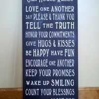 Our House Rules Word Art Typography Wood Sign | SignsofElegance - Housewares on ArtFire