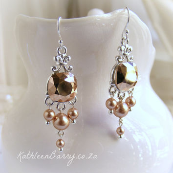 R650 Rose gold Swarovski Crystal and Pearl Chandelier earrings