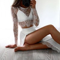 CUPCUPST Women Fashion All-match Perspective Lace Long Sleeve Solid Color Crop Tops