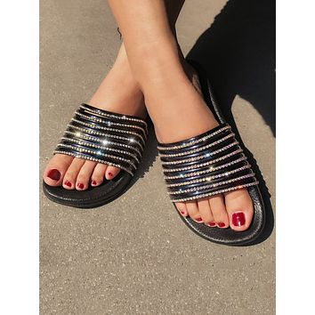 Rhinestone Decor Slide Sandals