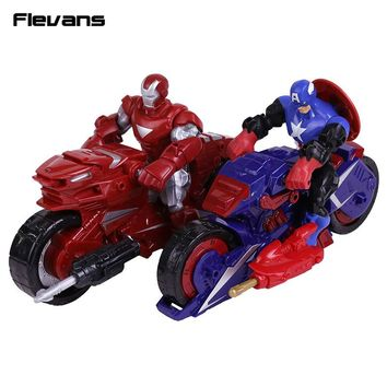 Marvel Super Hero Mashers Captain America / Iron Man with Motorcycle PVC Action Figure Collectible Model Toy