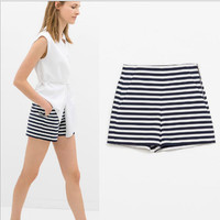 Striped Print Shorts With Pocket