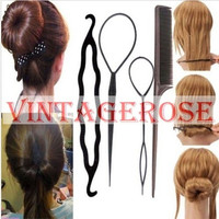Women`s Summer Hairagami Hair Bun Updo Fold Wrap & Snap Hair Style Tool 4PCS-Vintagerose (Size: M, Color: Black) = 5658494657