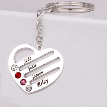 Can Custom Four Names & Birthstones Gift for Family Friends Personality  Heart  Key  Chain YP3190