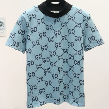 GUCCI 2018 spring new thin double G letter printed short-sleeved T-shirt F0241-1 Blue