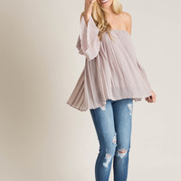 Nicole Mauve Off the Shoulder Pleated Top