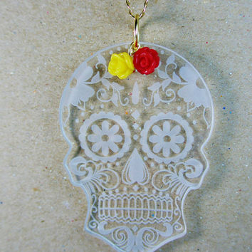 Laser cut acrylic pendant dia de los muertos candy skull day of the dead necklace red rose yellow