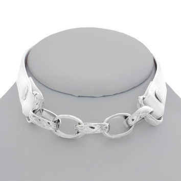 Let's Link Up Leather Choker