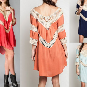 Eliza Bella Bohemian Hippie Fit Crochet Tunic Dress / Blouse SML