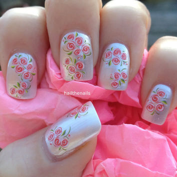 Nail WRAPS Nail Art Water Transfers Decals -  Peach Tiny Rose Buds Nails YD076