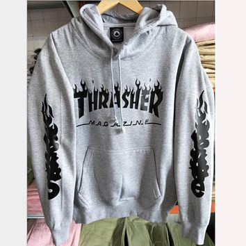 Thrasher letter flame men and women hooded sweater teen sports coat