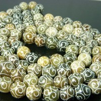 Gemstone Carved jade beads 12mm 10pcs by BeaconBeads on Etsy