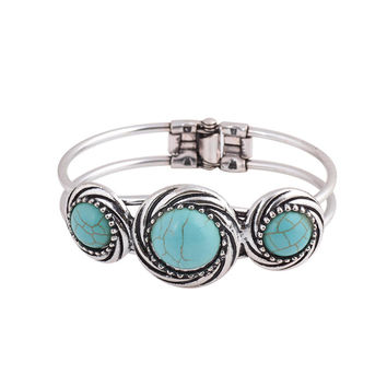 Vintage Jewelry Tibetan Silver Carved Round Turquoise Bangle Gift For Women Bracelet Watch B  pulsera brazalete Accessory SM6