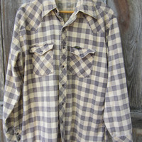 80s Wrangler Buffalo Plaid Flannel Western Shirt, Men's L-XL // Vintage Country Western Shirt // Winter Cowboy Shirt