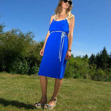 70's Catalina Terry Cloth Dress Size Med - Large - 1970's Vintage Royal Blue Dress - Spaghetti Strap Summer Dress - Cobalt Blue Beach Dress