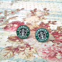upcycled starbucks earrings (old logo)