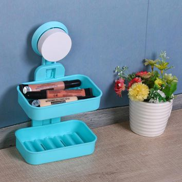Two Layer Suction Soap Box Holder Kitchen Tools Bathroom Accessories Soap Holder  Cleanser Dish Storage Basket Soap Box Stand
