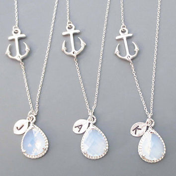 Set of 5-10, Personalized, Letter, Initial, Opal, Glass, Anchor, Gold, Silver, Necklace, Sets, Wedding, Bridesmaid, Bride, Gift, Jewelry