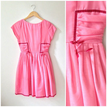 50s bubblegum pink & burgundy velvet PARTY DRESS // size small