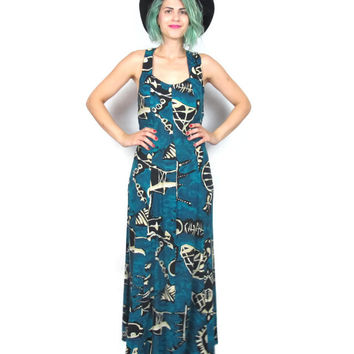 80s 90s Batik Sun Dress African Hippie Boho Grunge Festival Maxi Dress All That Jazz Dress Teal Turquoise Black Tie Dye Print Dress (M)