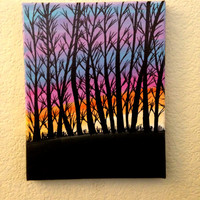 Sunset through a forest Acrylic painting Canvas art Trees silhouette Christmas gifts Christmas sale Christmast outdoor decor Wall art decor