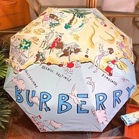 Burberry Hot Fashion Women's High-end Automatic Umbrella with Contrast Pattern Letters