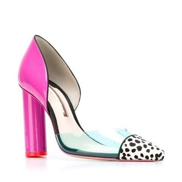 Frida polka dot clear candy pointed chunky pink heels