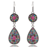 Long Bohemian Earrings For Women Ethnic Jewelry Anti Silver Plated Multi Color Enamel Flower Seed Beaded Big Water Drop Earring