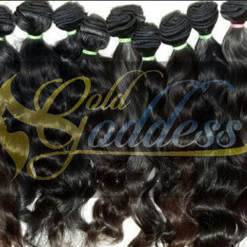 400g 10A Gold Goddess Raw unprocessed  Temple Indian virgin  wavy braid  or weft