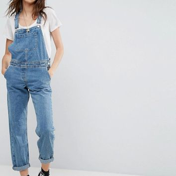 ASOS Denim Dungaree in Midwash Blue at asos.com