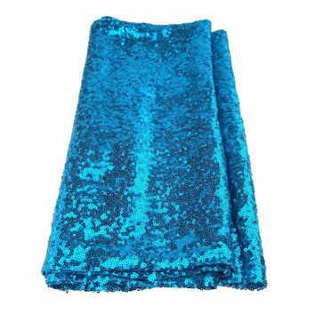 Sparkling Sequins Fabric Table Runner, 14-Inch x 108-Inch, Turquoise