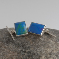 Bright blue bowlerite and sterling silver cufflinks