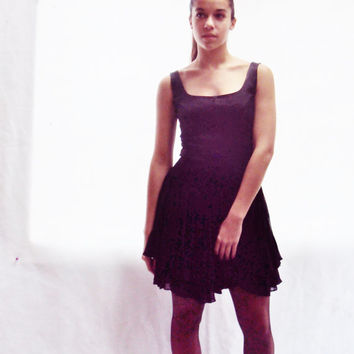 90s Grunge Revival / 90s Black Grunge Mini Dress S, M / TULLE Skirt / Tight Bodycon Dress / Avant Garde Dress