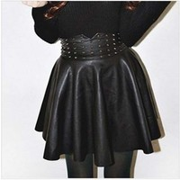 Riveted/Studded Flared High Waist Black Faux Leather Punk/Gothic Miniskirt