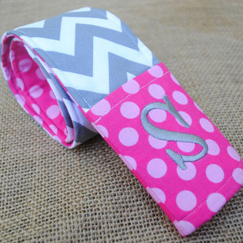 Chevron camera strap cover with monogrammed lens cap pocket (hot pink and gray)