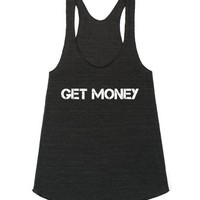 """Get Money"" tank top-Female Athletic Tri Black Tank"