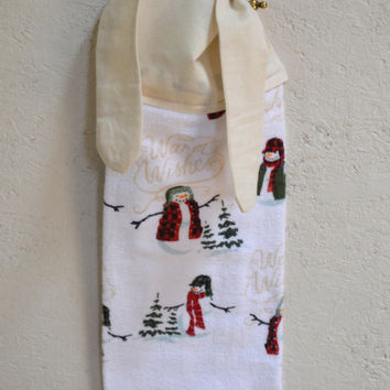 Snowman Hand Towel, Christmas Towel, Kitchen Towel, Snowman Decor, Tea Towel, Gift for Her, Tie on Towel, Holiday Decor, Dish Towel, CIJ