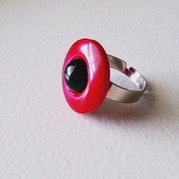 Handmade red, black dome ring adjustable, fun ring, button ring