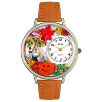 SheilaShrubs.com: Unisex Autumn Leaves Tan Leather Watch U-1213001 by Whimsical Watches: Watches