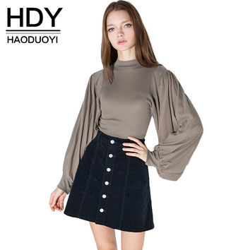 HDY Haoduoyi 2016 Womens Fashion Lantern Long Sleeve Office Lady Top Turtleneck Slim Retro T-shirts