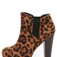 Madden Girl Zelouss Leopard Print High Heel Ankle Boots