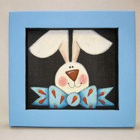Bunny with Bow Tie, Framed in Light Blue, Tole Painted on Black Screen, Spring Time