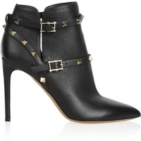 Valentino - Rockstud textured-leather ankle boots